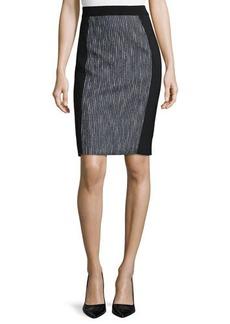 Elie Tahari Kim Tweed-Panel Pencil Skirt  Kim Tweed-Panel Pencil Skirt