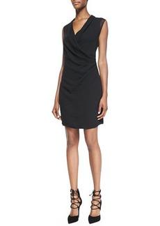 Elie Tahari Kinsley Mesh-Sleeve Draped Dress