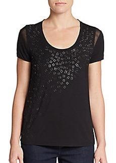 Elie Tahari Knit-Front, Silk-Back Embellished Top