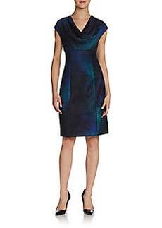 Elie Tahari Kyler Drape-Neck Empire Dress