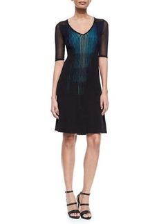 Elie Tahari Lara Plisse Sweaterdress, Black