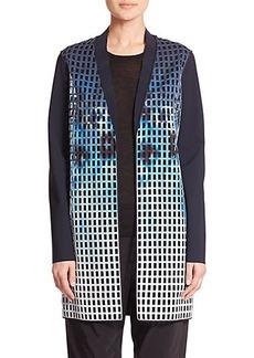 Elie Tahari Laser Cutout Neoprene Coat