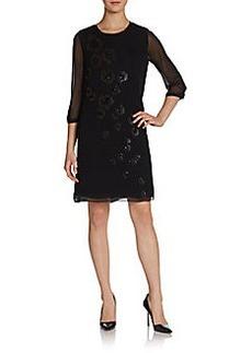 Elie Tahari Laurella Embellished Silk Shift Dress