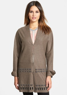 Elie Tahari 'Leann' Grommet Trim Wool Blend Coat