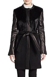 Elie Tahari Leather & Pony Hair-Trimmed Wool Coat