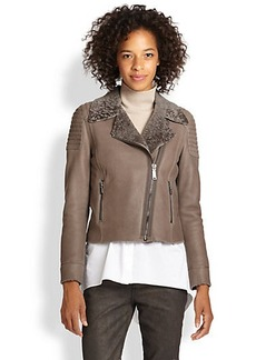 Elie Tahari Leather & Shearling Mae Jacket