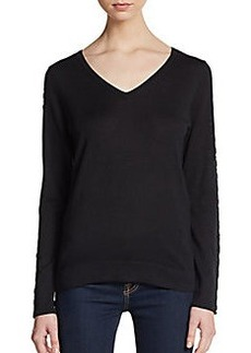 Elie Tahari Leather-Detail Sweater