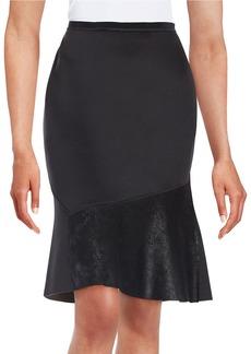 ELIE TAHARI Leather-Panelled Skirt