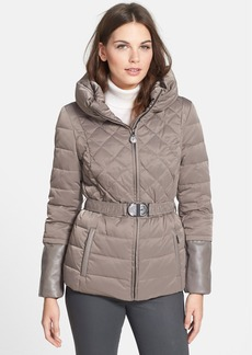 Elie Tahari Leather Trim Belted Down Jacket