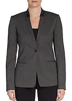 Elie Tahari Leather-Trim Collarless Blazer