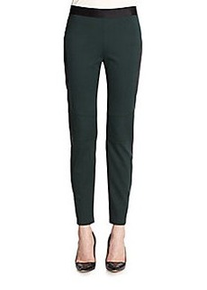 Elie Tahari Leather-Trim Stretch Leggings