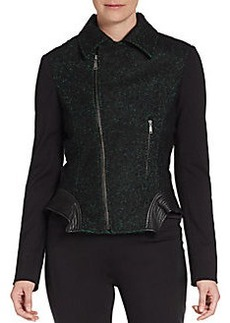Elie Tahari Leather-Trim Tweed Moto Jacket