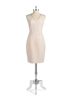 ELIE TAHARI Leather Trimmed Ponte Sheath Dress