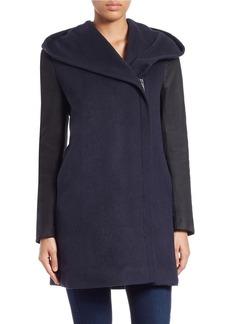 ELIE TAHARI Leather-Trimmed Wool-Blend Coat
