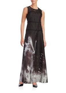 ELIE TAHARI Leona Floral Illusion Dress