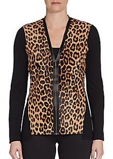 Elie Tahari Leopard-Print Calf Hair & Wool Sweater