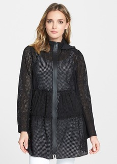 Elie Tahari 'Leslie' Hooded Eyelet Cotton Coat