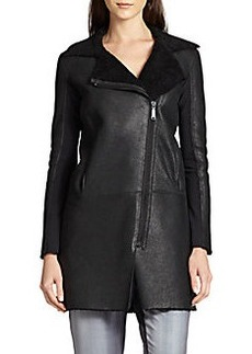 Elie Tahari Lexie Leather & Shearling Car Coat