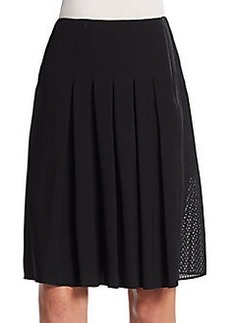 Elie Tahari Linda Pleated Mesh-Side Skirt