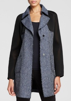 Elie Tahari Lisa Mixed Media Coat