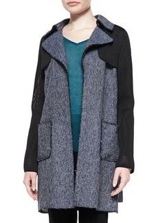 Elie Tahari Lisa Tweed & Mesh Belted Coat