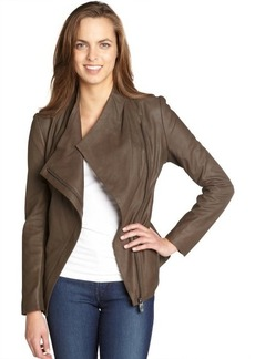 Elie Tahari loden 'Constance' peplum leather jacket