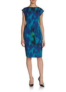 Elie Tahari Logan Printed Cap-Sleeve Dress