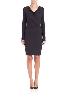 Elie Tahari Long-Sleeve Terry Gathered Vala Dress