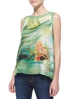 Elie Tahari Lori Sleeveless Tropical Print Blouse