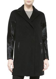 Elie Tahari Louisa Coat W/ Calf Hair Sleeves