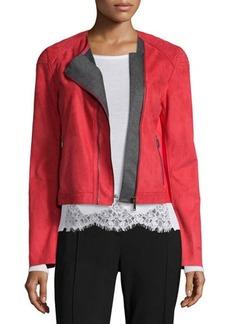 Elie Tahari Luana Suede Jacket with Bonded Jersey Detail  Luana Suede Jacket with Bonded Jersey Detail