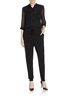Elie Tahari Madison Zip-Back Silk-Combo Jumpsuit