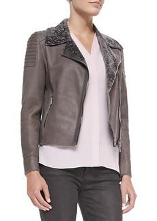 Elie Tahari Mae Lambskin Jacket with Fur Collar, Chicory