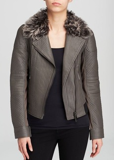 Elie Tahari Mae Quilted Leather Jacket