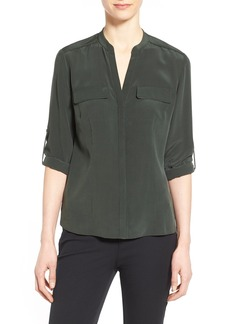 Elie Tahari 'Mailn' Wrapped Chain Detail Mixed Media Blouse