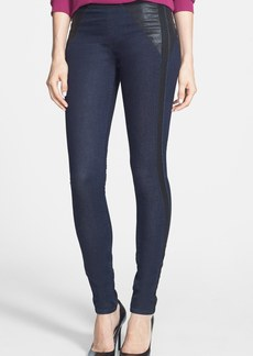 Elie Tahari 'Mallory' Leather & Mesh Trim Denim Leggings