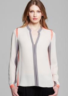 Elie Tahari Marguerite Color Block Silk Blouse
