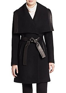 Elie Tahari Marina Leather-Trimmed Wool Coat
