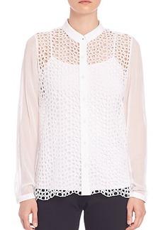 Elie Tahari Marissa Laser-Cut Lace Shirt