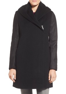 Elie Tahari 'Marlena' Leather Sleeve Hooded Wool Blend Coat