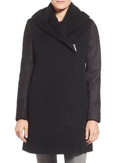Elie Tahari 'Marlena' Leather Sleeve Hooded Wool Blend Coat