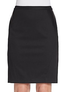 Elie Tahari Maureen Leather-Trimmed Pencil Skirt