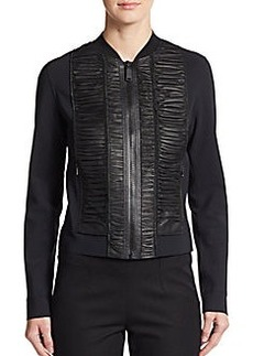 Elie Tahari Max Leather-Accent Bomber Jacket