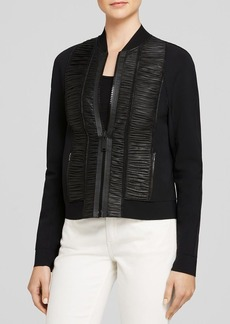 Elie Tahari Max Ruched Leather Jacket