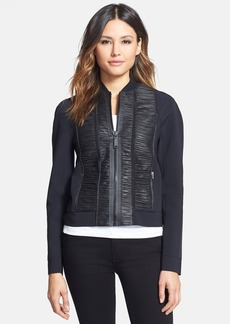 Elie Tahari 'Max' Ruched Leather Panel Techno Jacket