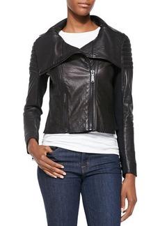 Elie Tahari Melanie Leather Jacket W/ Quilted Shoulders