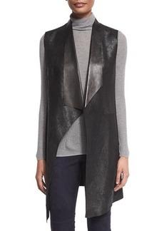 Elie Tahari Melissa Long Distressed Leather Vest  Melissa Long Distressed Leather Vest