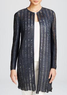 Elie Tahari Melody Laser Cut Leather Coat