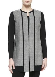 Elie Tahari Melody Long Jewel-Neck Contrast Coat
