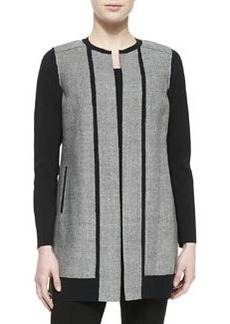 Elie Tahari Melody Long Jewel-Neck Contrast Coat